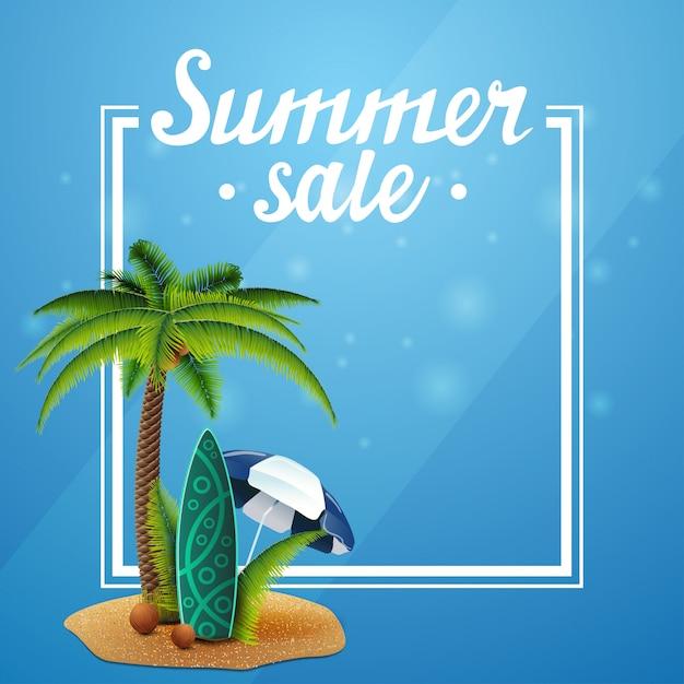 Sommerschlussverkauf, blaue vorlage für ihre künste mit rahmen und platz für text Premium Vektoren