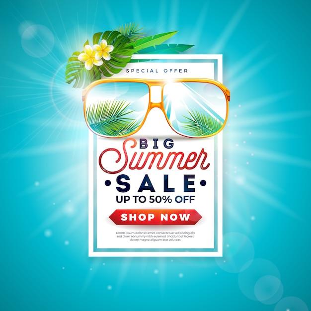 Sommerschlussverkauf-design mit exotischen palmblättern in der sonnenbrille Premium Vektoren