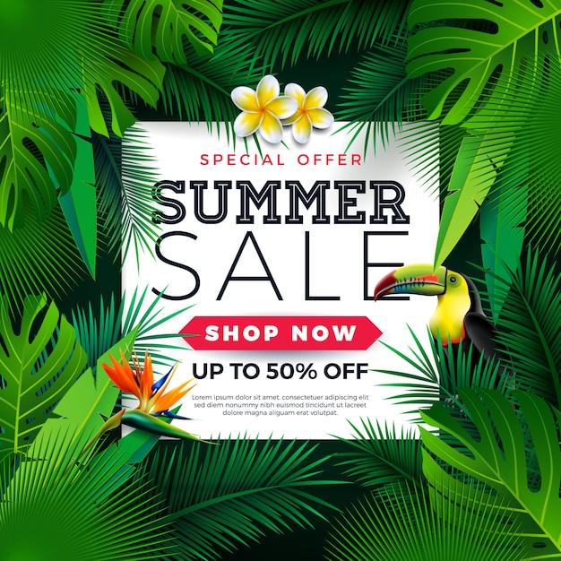 Sommerschlussverkauf-design mit tukan-vogel-und papageien-blume auf grünem hintergrund Premium Vektoren