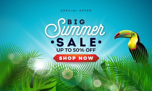 Sommerschlussverkauf-entwurf mit exotischen palmblättern und tukan-vogel Premium Vektoren