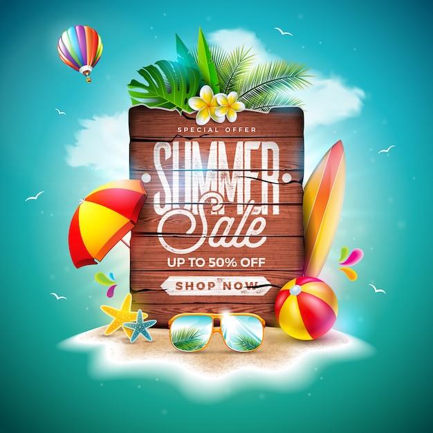 Sommerschlussverkauf-entwurf mit exotischen palmblättern und vintagem hölzernem brett Premium Vektoren