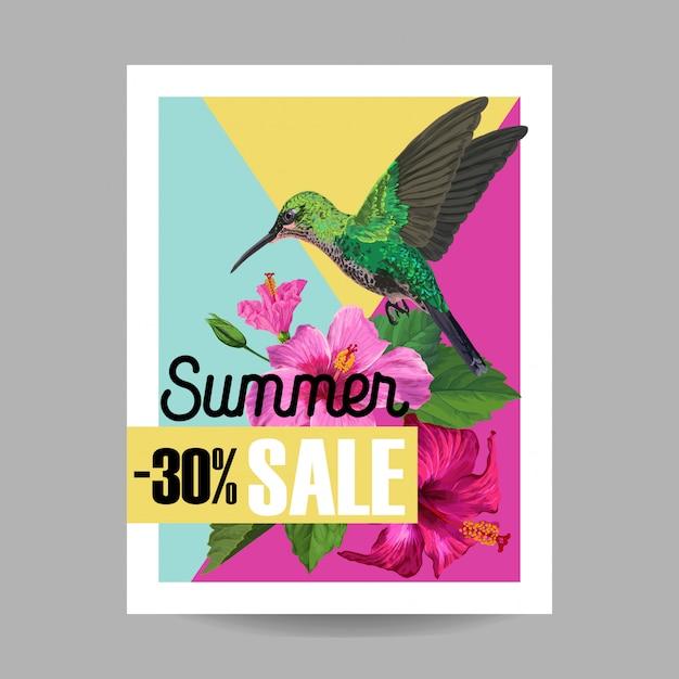 Sommerschlussverkauf-fahne mit blumen und summenvögeln Premium Vektoren