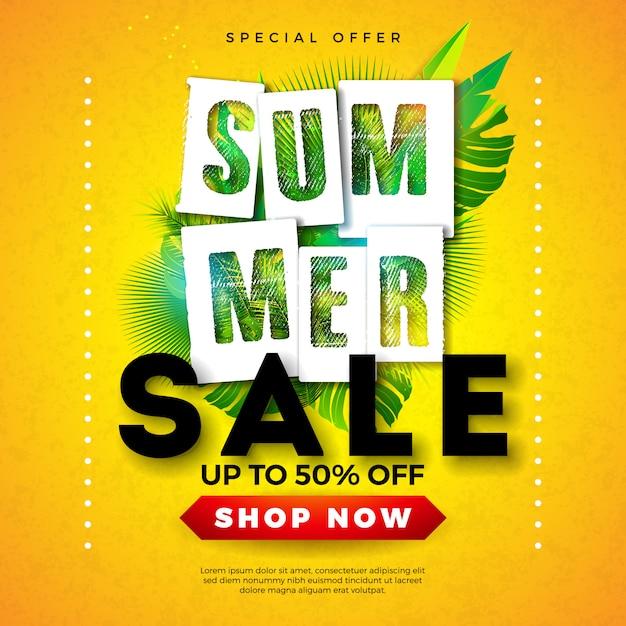 Sommerschlussverkauf-fahnenentwurf mit tropischen palmblättern und typografie-buchstaben Premium Vektoren