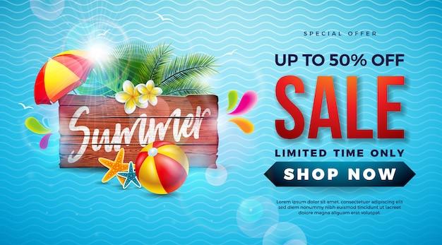 Sommerschlussverkauf-fahnenschablonenentwurf mit exotischen palmblättern und wasserball Premium Vektoren