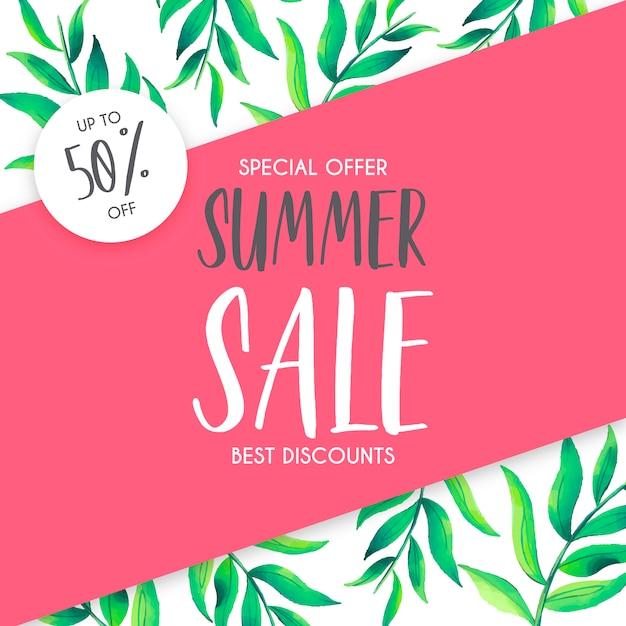 Sommerschlussverkauf-hintergrund mit aquarell-blättern Kostenlosen Vektoren