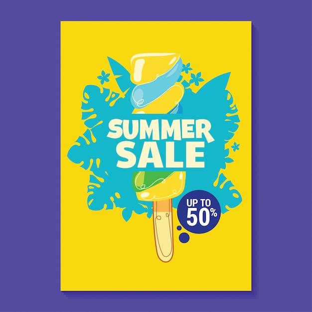 Sommerschlussverkauf-illustration mit eis am stiel, strand und tropischem blatt-hintergrund Premium Vektoren