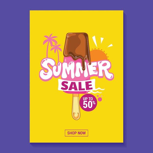 Sommerschlussverkauf-illustrations-plakat mit eis am stiel, strand und tropischem blatt-hintergrund Premium Vektoren