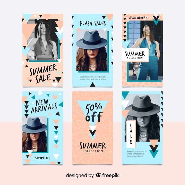 Sommerschlussverkauf instagram geschichten-schablonensammlung Kostenlosen Vektoren