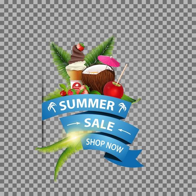 Sommerschlussverkauf, lokalisierte netzfahne mit band, kokosnusscocktail und früchten Premium Vektoren