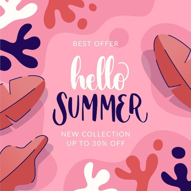 Sommerschlussverkauf mit blättern Kostenlosen Vektoren