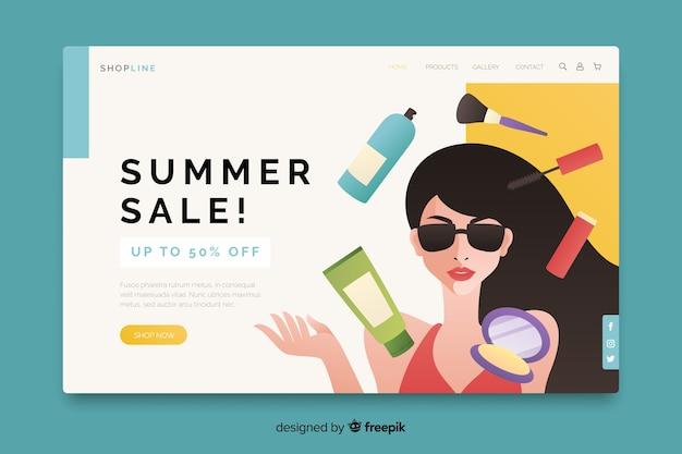 Sommerschlussverkauf mit frau und produktlandungsseite Kostenlosen Vektoren