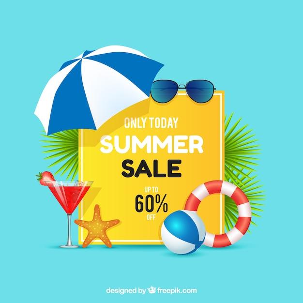 Sommerschlussverkauf mit realistischer art Kostenlosen Vektoren