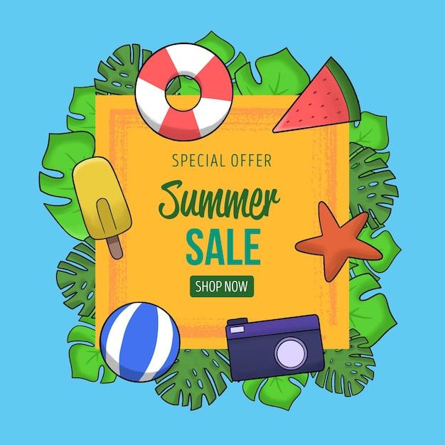 Sommerschlussverkauf mit seestern und wasserball Kostenlosen Vektoren