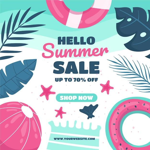 Sommerschlussverkauf mit wasserball und blättern Kostenlosen Vektoren