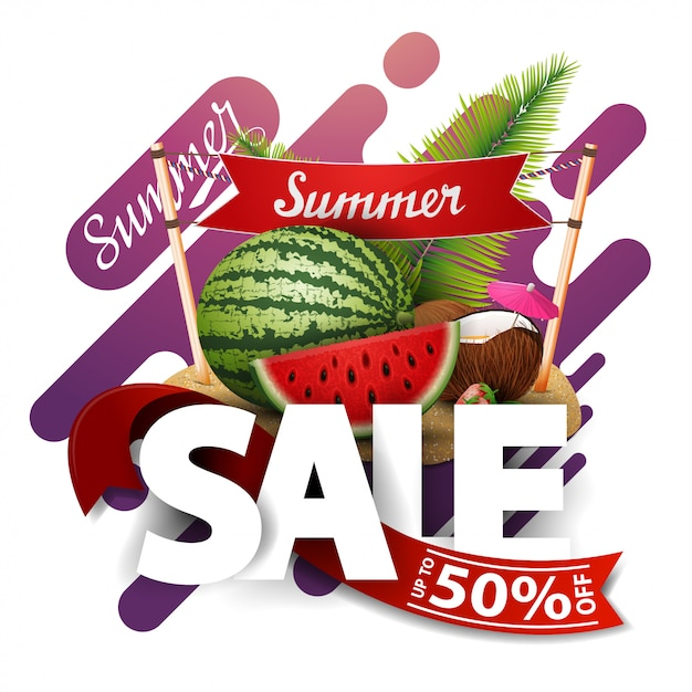 Sommerschlussverkauf, moderne rabattfahne für ihr geschäft mit wassermelone Premium Vektoren