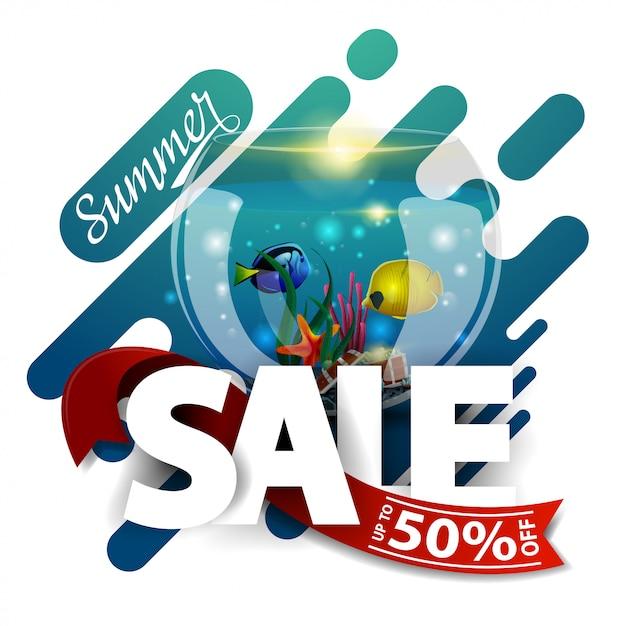 Sommerschlussverkauf, moderne rabattfahne für ihr geschäft Premium Vektoren