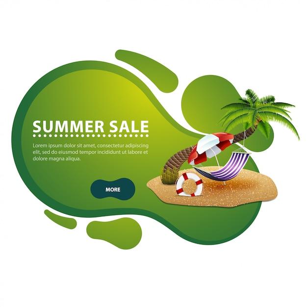 Sommerschlussverkauf, moderne rabattfahne in form von glatten linien für ihr geschäft Premium Vektoren