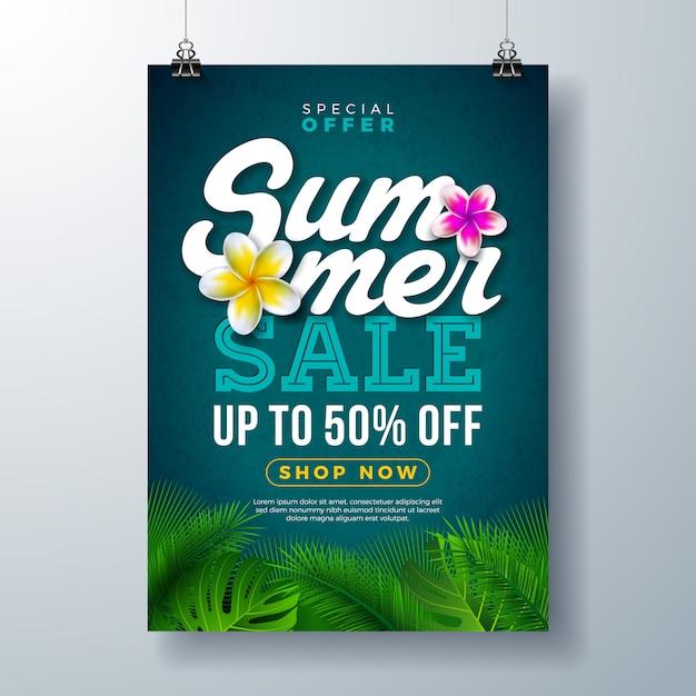 Sommerschlussverkauf poster banner vorlage mit blumen und exotischen palmblättern Premium Vektoren