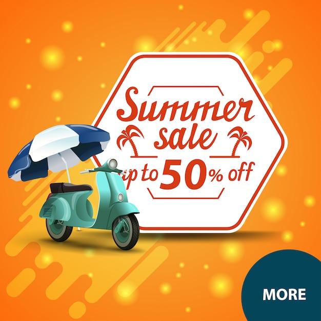Sommerschlussverkauf, quadratische rabattweb-fahne für ihre website Premium Vektoren