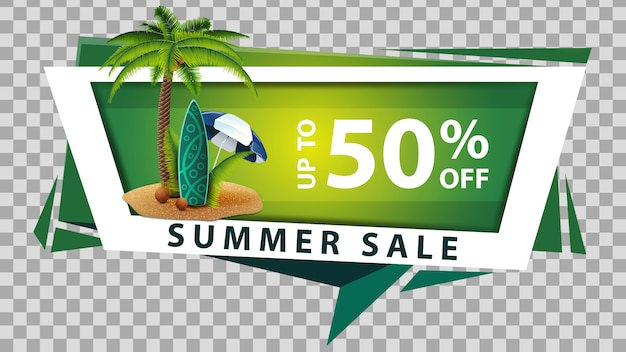 Sommerschlussverkauf, rabattnetzfahne im geometrischen stil Premium Vektoren