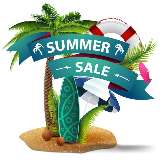 Sommerschlussverkauf, rabattnetzfahne in form von bändern Premium Vektoren