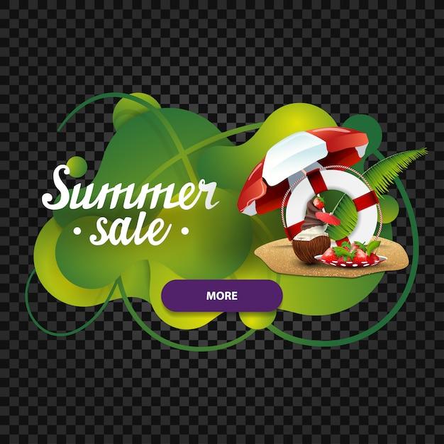 Sommerschlussverkauf, rabattnetzfahne in form von lavalampe Premium Vektoren