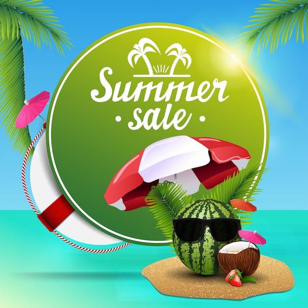 Sommerschlussverkauf, rundes rabattnetzbanner für ihr geschäft mit schönen seeansichten Premium Vektoren