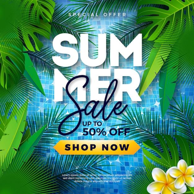 Sommerschlussverkauf-schablonenentwurf mit tropischen palmblättern auf pool Premium Vektoren