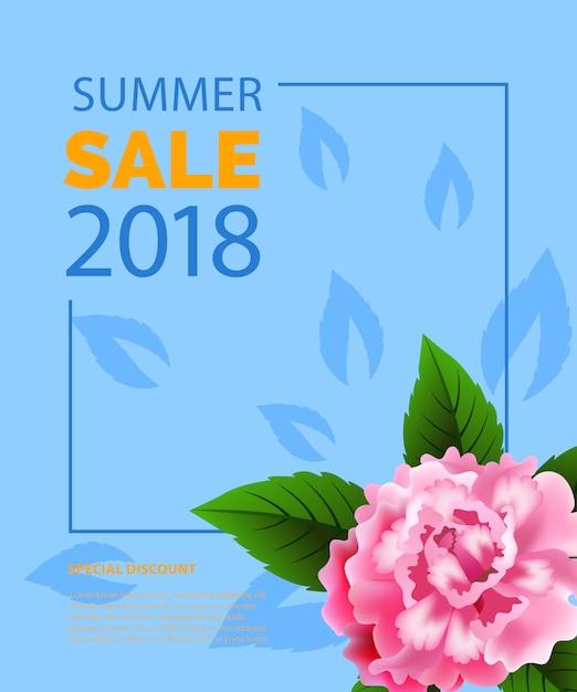 Sommerschlussverkauf schriftzug im rahmen mit pfingstrose. sommerangebot oder verkaufswerbung Kostenlosen Vektoren