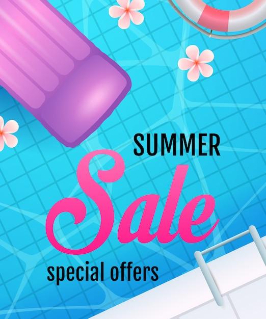 Sommerschlussverkauf schriftzug mit schwimmbadwasser und luftmatratze Kostenlosen Vektoren