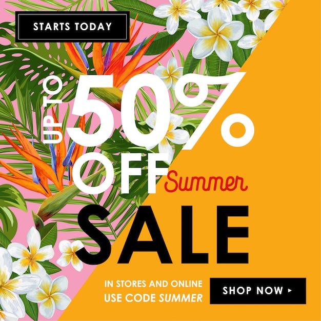 Sommerschlussverkauf tropische fahne mit blumen Premium Vektoren