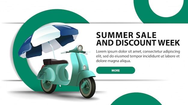 Sommerschlussverkauf und rabattwoche, moderne rabattfahne mit modernem design Premium Vektoren