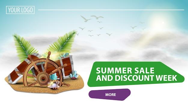 Sommerschlussverkauf und rabattwoche zielseite Premium Vektoren