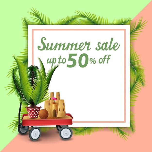 Sommerschlussverkauf, vorlage für rabatt banner in form eines blattes papier Premium Vektoren