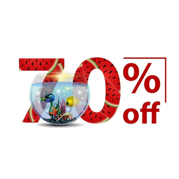 Sommerschlussverkauf, weiße stilvolle rabattfahne mit zahlen mit wassermelonenbeschaffenheit Premium Vektoren
