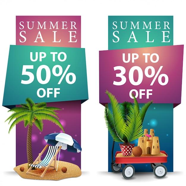 Sommerschlussverkauf, zwei rabatt-banner Premium Vektoren