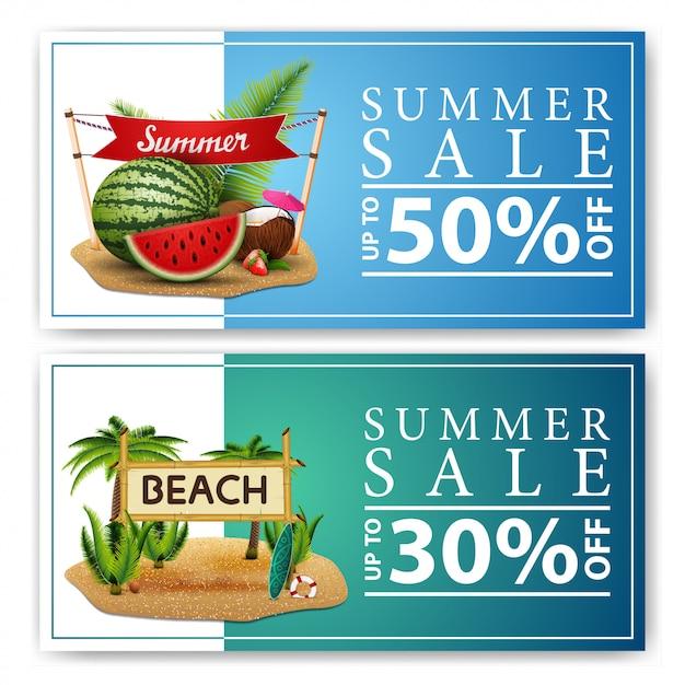 Sommerschlussverkauf, zwei rabatt-web-banner Premium Vektoren