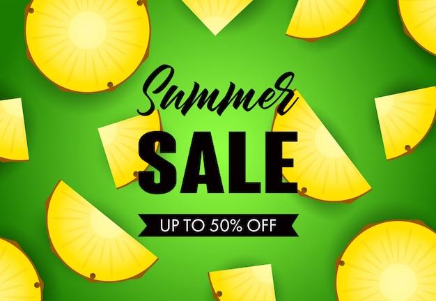 Sommerschlussverkaufbeschriftung mit ananasscheiben Kostenlosen Vektoren