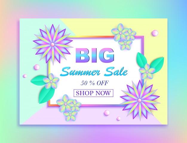 Sommerschlussverkauffahne mit bunten blumen, blättern und perlen auf buntem hintergrund. vektor-illustration Premium Vektoren