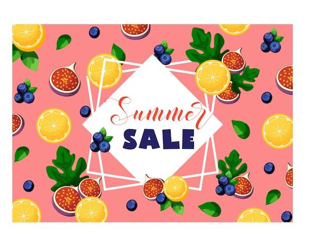 Sommerschlussverkauffahne mit früchten und beeren zitrone, feigen, blaubeeren, blättern, rahmen und text auf rosa. Premium Vektoren