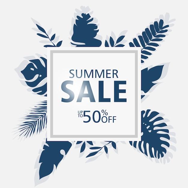 Sommerschlussverkauffahnenschablonen, quadratischer rahmen mit palmblättern, waldblätter. Premium Vektoren