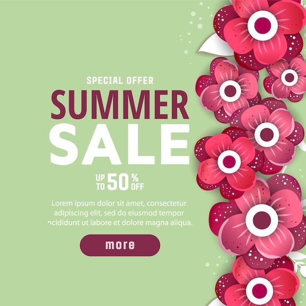 Sommerschlussverkaufhintergrund mit blumen. Premium Vektoren