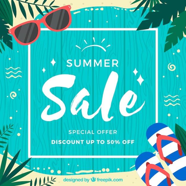 Sommerschlussverkaufhintergrund mit hölzernen planken Premium Vektoren