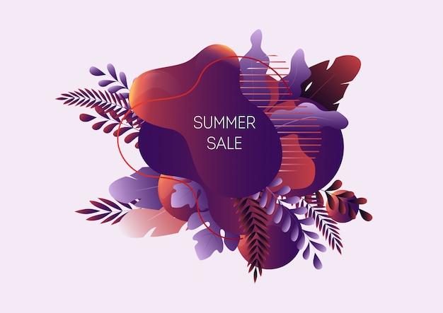 Sommerschlussverkaufnetzfahne mit den abstrakten flüssigen formen, tropischen blättern und text lokalisiert Premium Vektoren