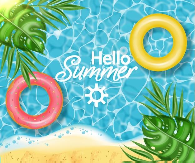 Sommerschwimmbad und rettungsring Premium Vektoren