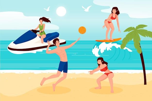 Sommersportler am strand Kostenlosen Vektoren