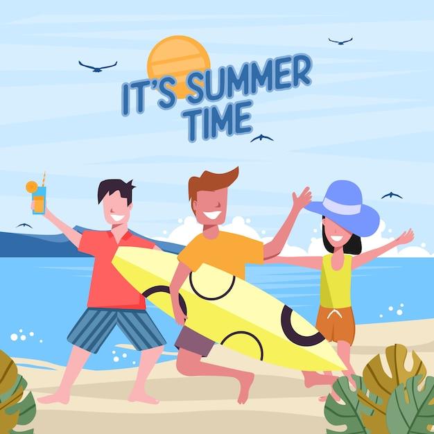 Sommerstrand mit dem springen von glücklichen jungen leuten Premium Vektoren
