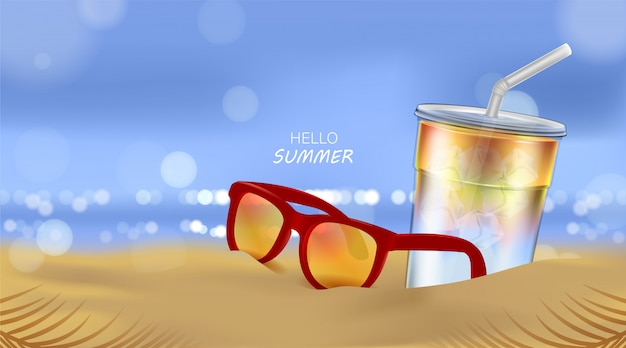 Sommerstrand und meeressonnenlicht, sodacocktail und sonnenbrille auf strandhintergrund in der 3d-illustration Premium Vektoren