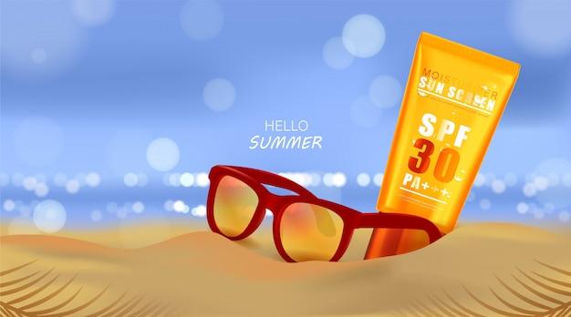 Sommerstrand und meeressonnenlicht, sonnenschutzcreme und sonnenbrille auf strandhintergrund in der 3d-illustration Premium Vektoren