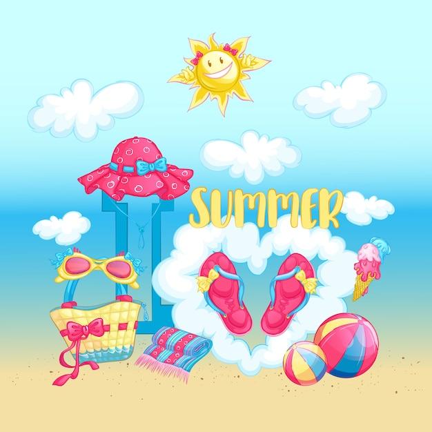 Sommerstrandanordnung mit strandzubehör Premium Vektoren